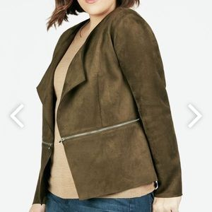Open Front Zip Detail Faux Suede Jacket W1